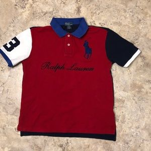 Polo Ralph Lauren Spell Out Polo Red Blue Boys L